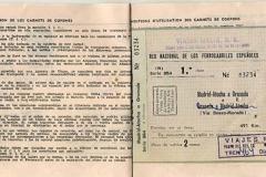 billete de tren de viajes meliá a granada 1968