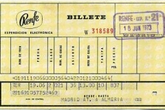 billete de tren de renfe a almeria en 1973