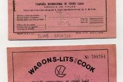 billetes de tren de wagons lits cook. elvas-badajoz, madrid-barcelona, barcelona-madrid.