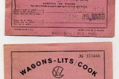 billetes de tren de wagons lits cook. valencia de alcántara-madrid, madrid-barcelona, barcelona-madrid.