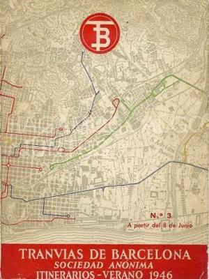 tranvias de barcelona, sociedad anónima, itinerarios de verano 1946