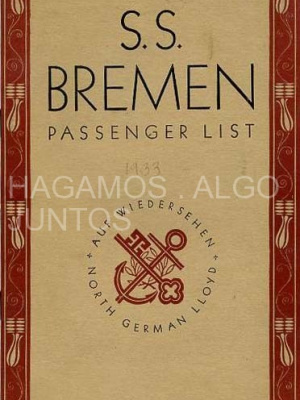 s.s. bremen, passenger list, 1933
