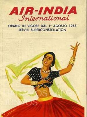 air india international, orario in vigore agosto 1955