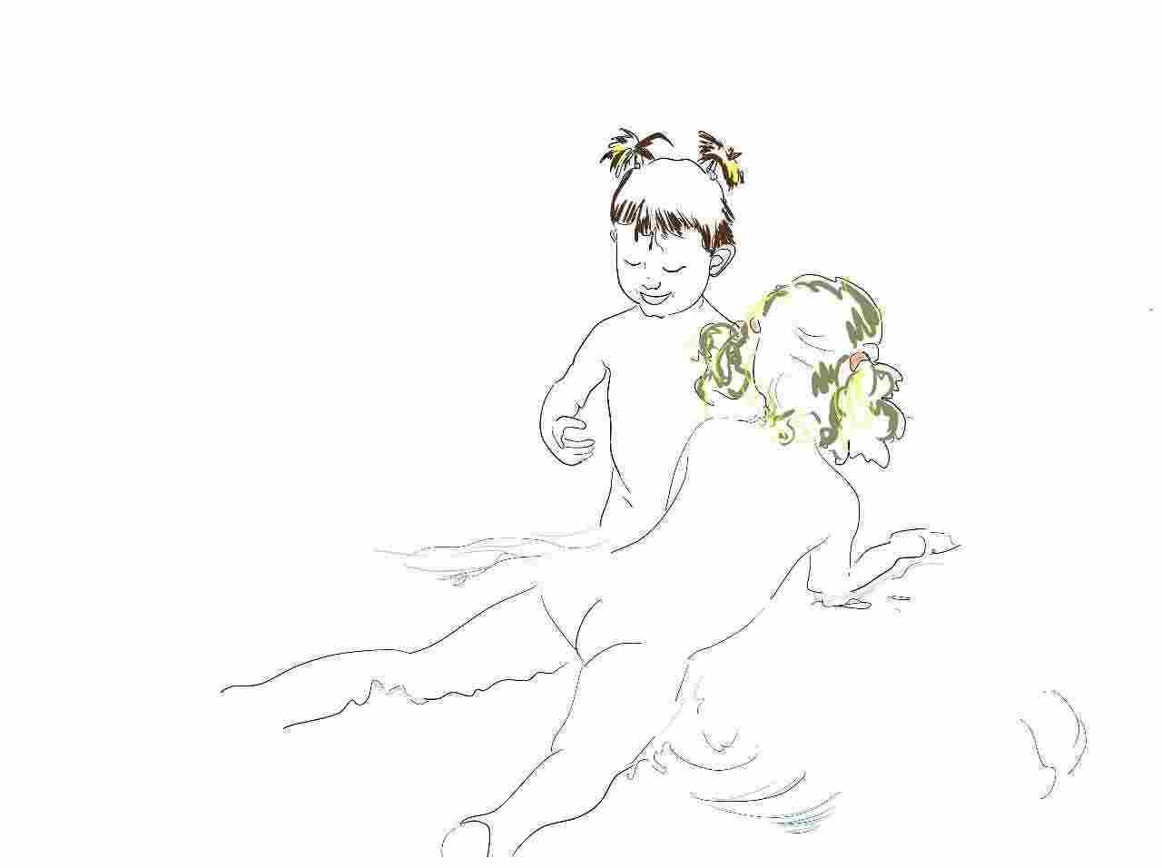 El baño. Ilustración infantil