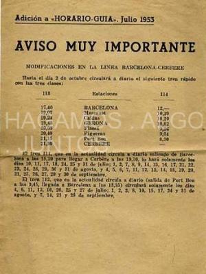 horario guia julio 1953, modificacion de la linea barcelona-cerbere