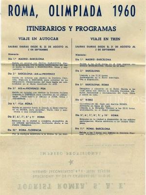roma, olimpiada 1960, itinerario y programas